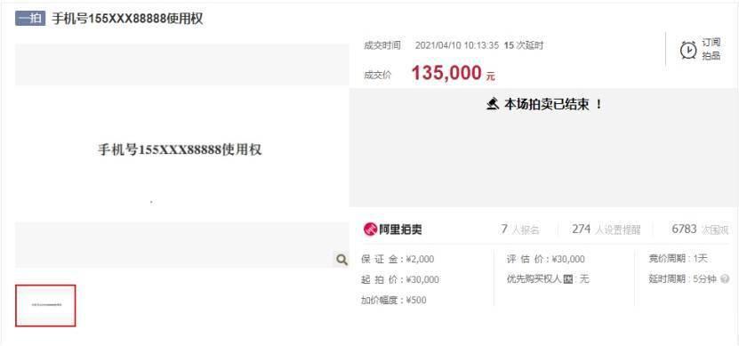 济南一88888手机靓号被拍卖:评估3万135万成交