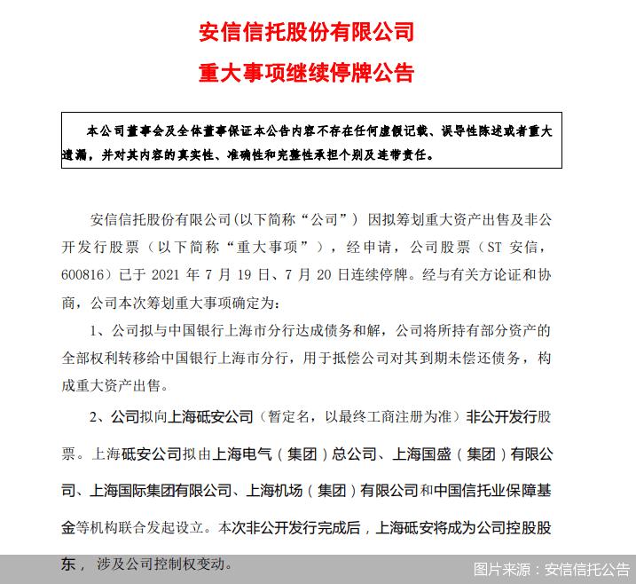 """重组方案""""出炉"""" 上海多家国企+信保基金组合进场 安信信托这次有救了?"""