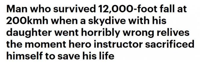 """澳男万尺跳伞为女庆生,降落伞竟出故障,教练""""命换命"""",讲述劫后经过"""